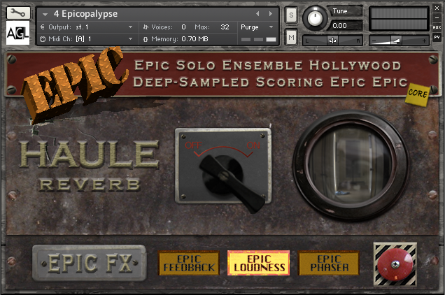 Still screenshot of an Epic Epic instrument in Kontakt